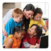 Children looking at computer screen